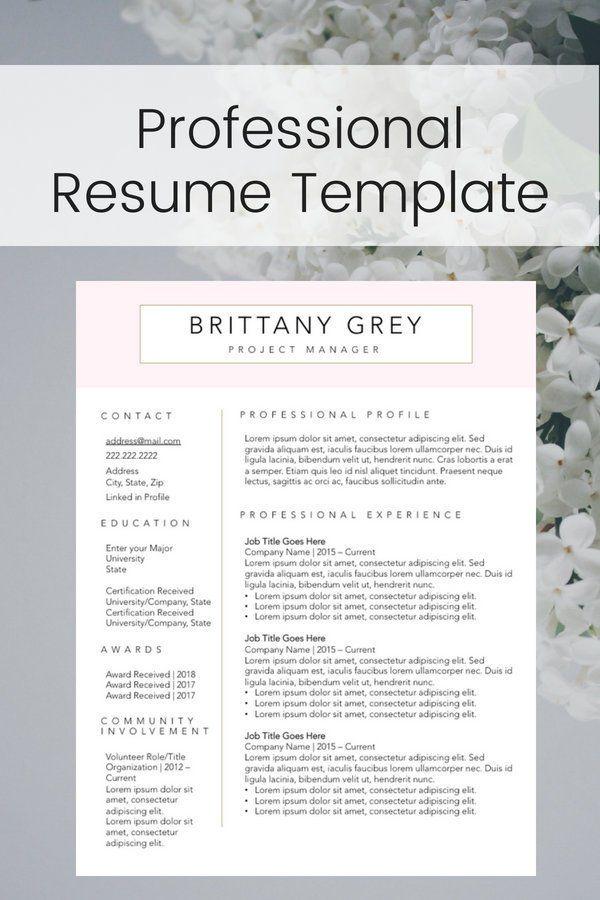 Modern Custom Professional Resumecv Template Instant Digital