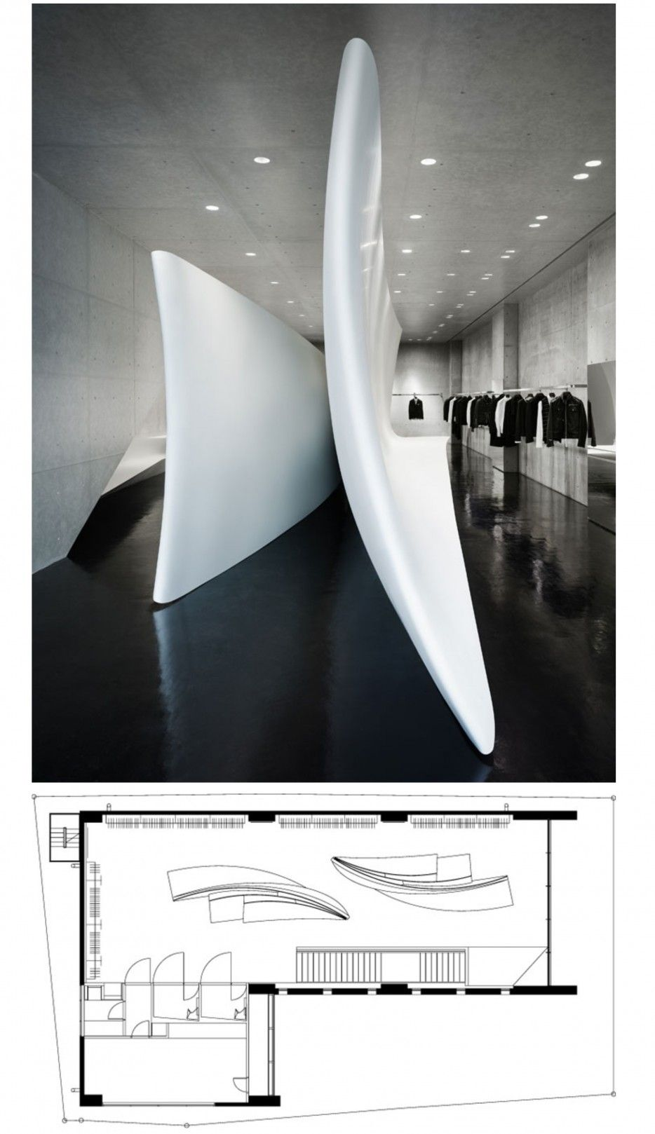 Interior Of Neil Barrett Store By Zaha Hadid Architects In