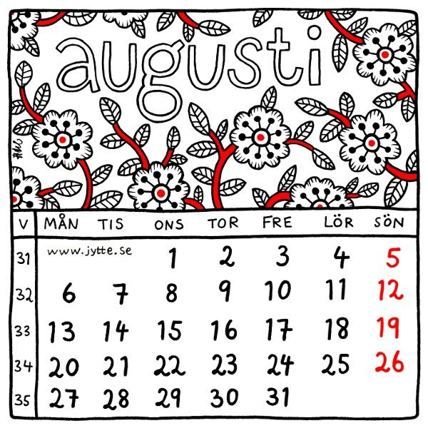August 2018. Square illustrated wall calendar by Jytte Hviid on etsy.