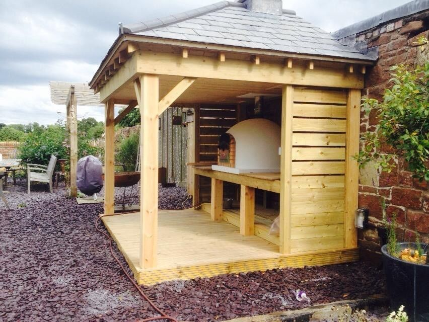Wooden Garden Gazebo Barbecue Bbq Amp Wood Fired Pizza Oven