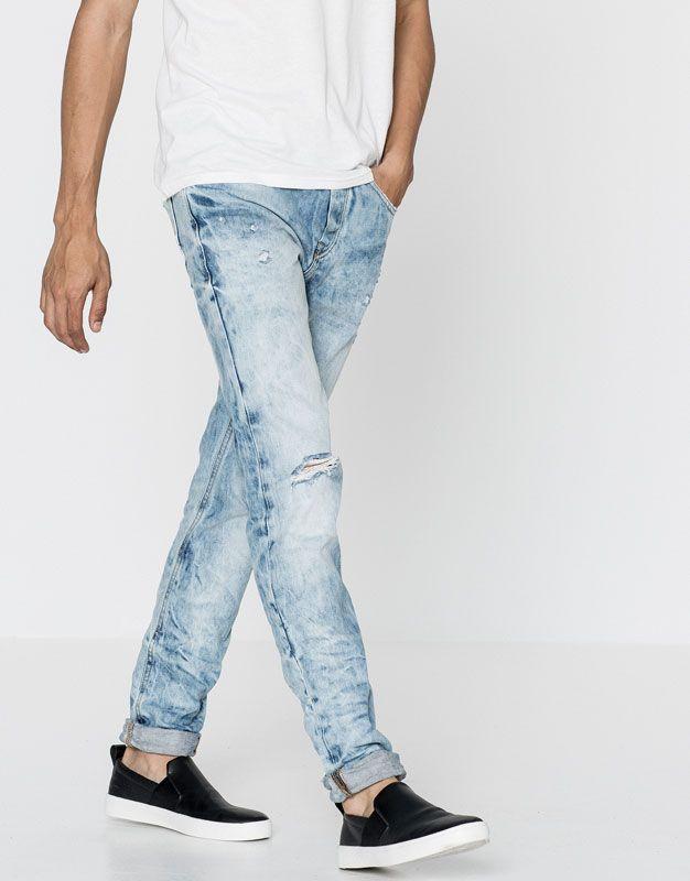 245506176d Pull Bear - homem - jeans - calças de ganga skinny fit - turquesa ...