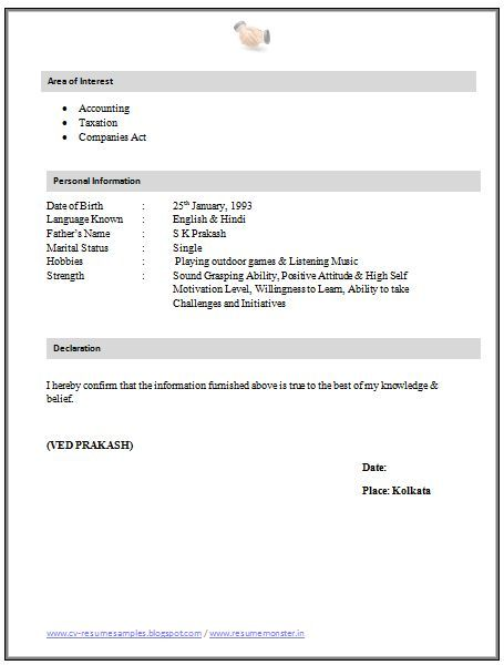 resume sle for articleship 2 career and resume News to Go 2 - declaration in resume