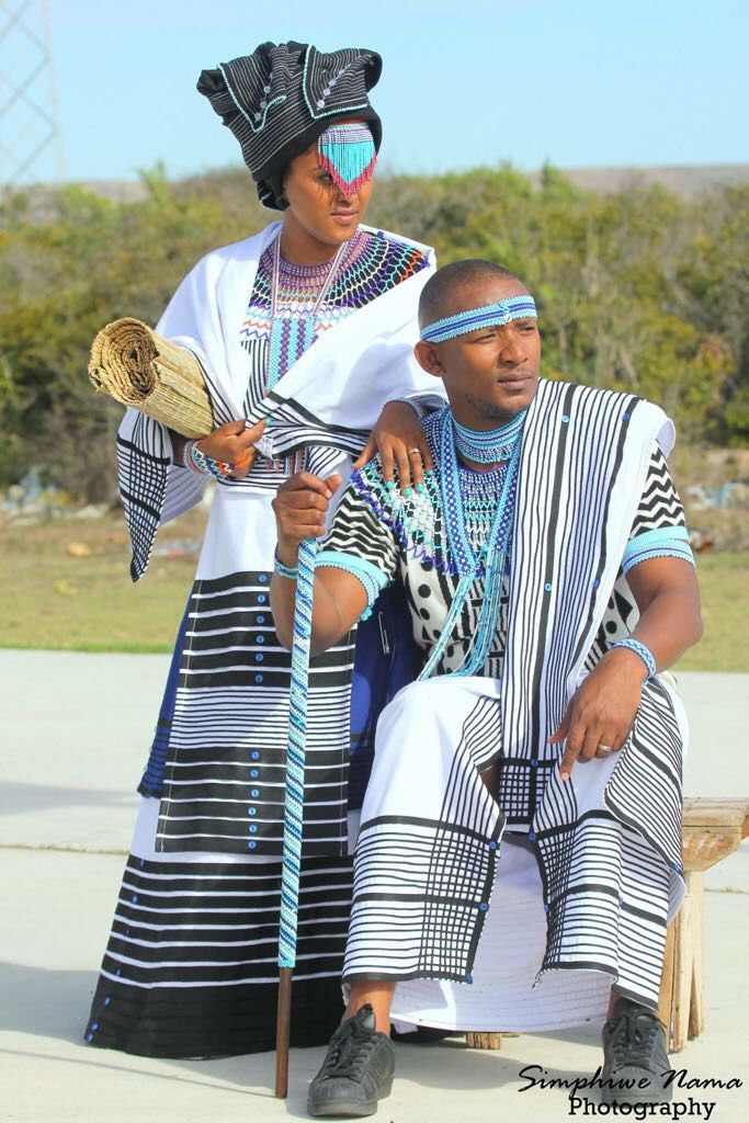 d0454e31b25 Xhosa Bride and Groom in traditional Xhosa umbhaco