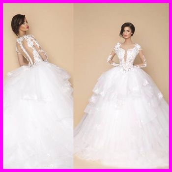 Vintage New Design Lace Wedding Dress A-Line Long Sleeve Sheer Sexy Romantic Wedding Dress 2015 Vestido De Noiva Csamento W178M