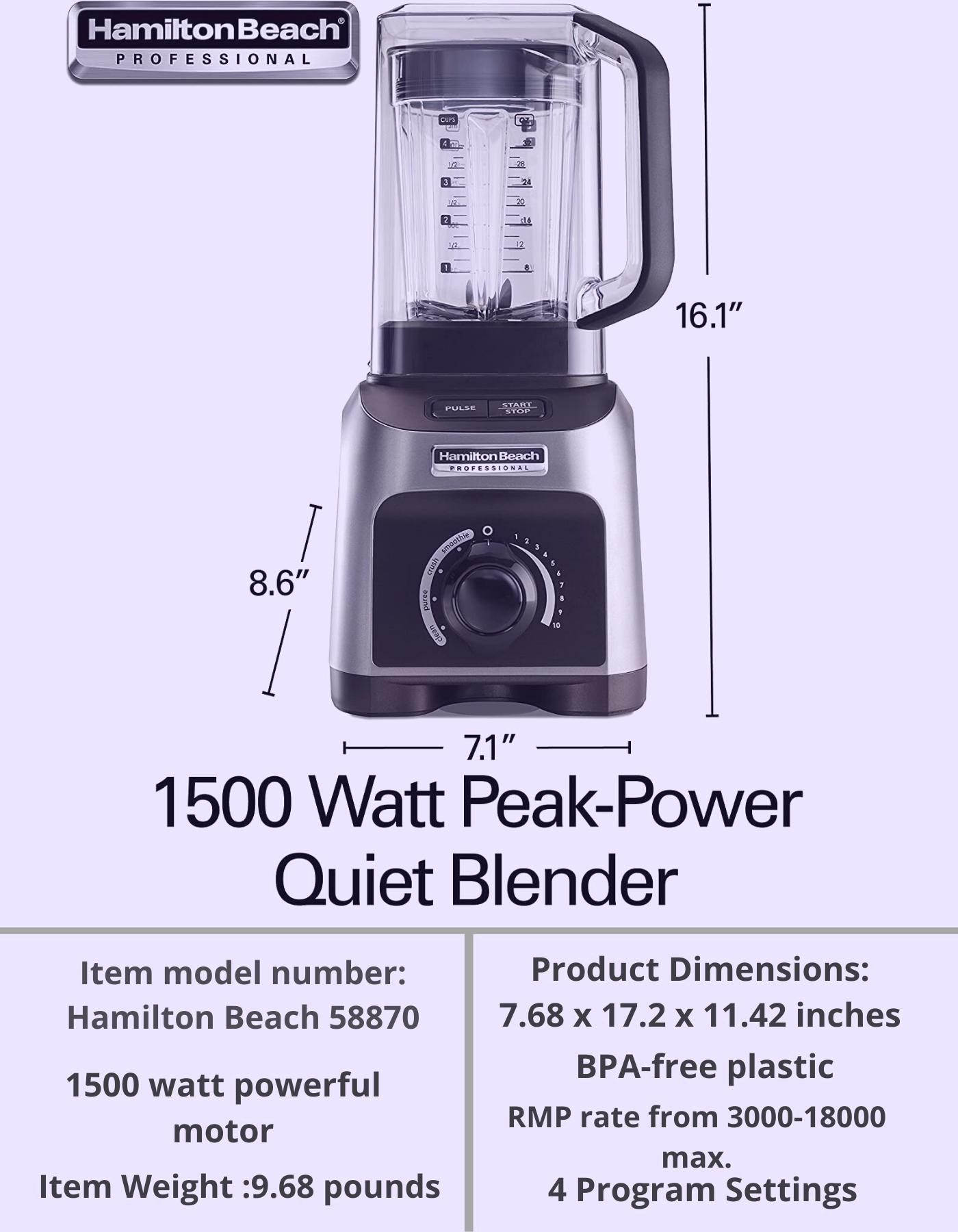 Hamilton Beach 58870 Quiet Shield Blender Blender Affordable Blender Best Blenders