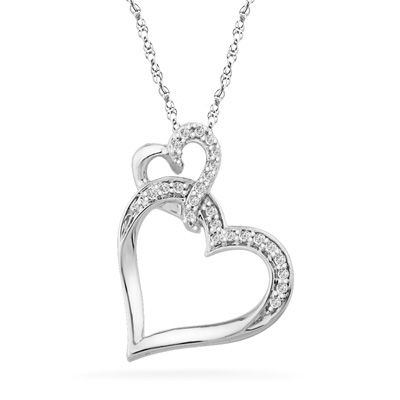 110 ct tw diamond tilted double heart pendant in sterling silver tw diamond tilted double heart pendant in sterling silver zales mozeypictures Image collections