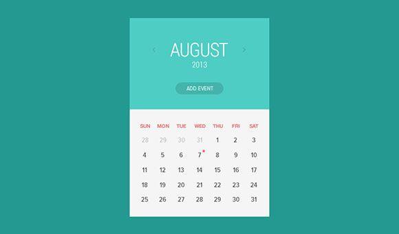 Flat Calendar Widget Psd Calendar Widget Calendar Design Calendar