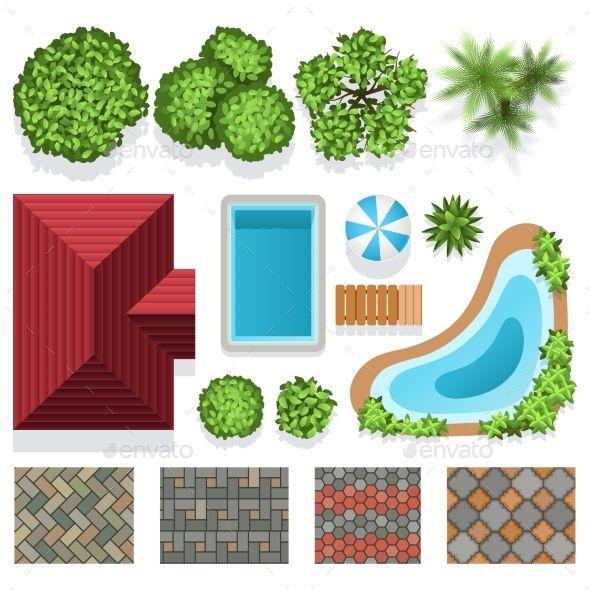 Landscape Garden Design Vector Elements Top View Garden Design Layout Butterfly Garden Design Garden Design
