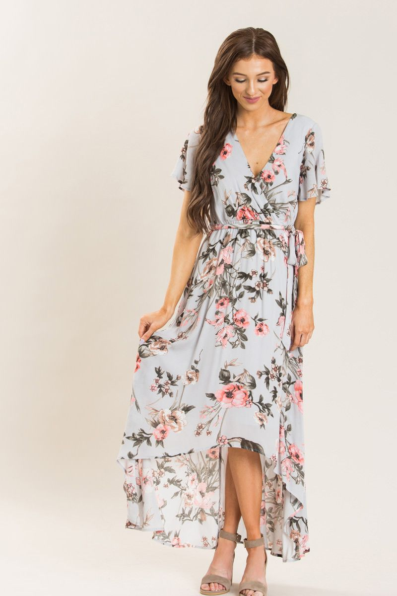 9cd4ba712c Our top selling Meldoy Floral Wrap Maxi Dress now comes in a new  irresistible color! We love floral dresses and this ice grey high-low maxi  dress is no ...
