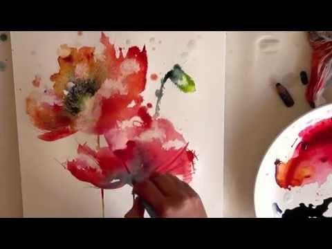 Акварель - полевые Маки ( захватывающая живопись ) - YouTube
