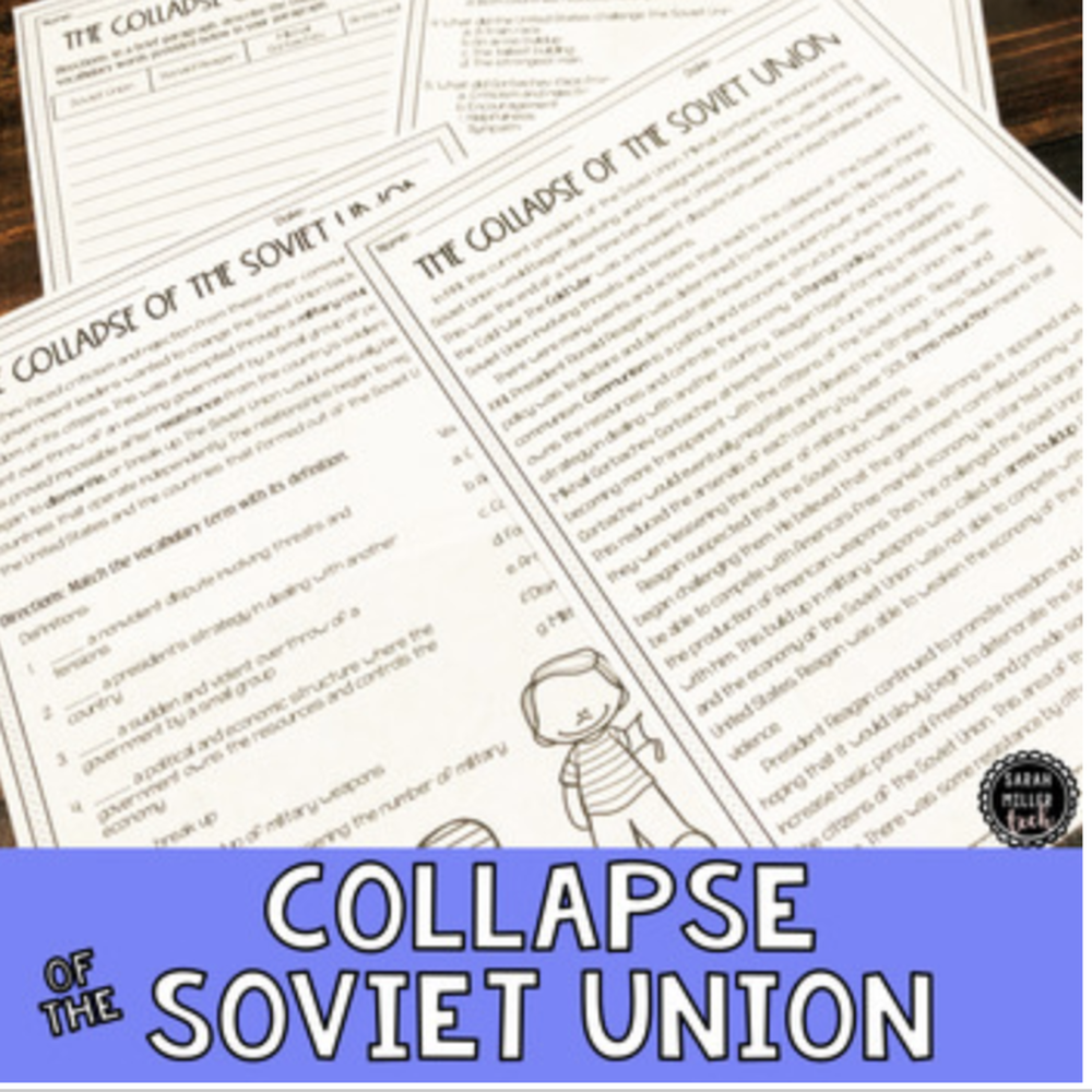 Collapse Of The Soviet Union Reading Packet Ss5h7a Cold War Lessons 5th Grade Reading Social Studies Curriculum [ 1000 x 1000 Pixel ]
