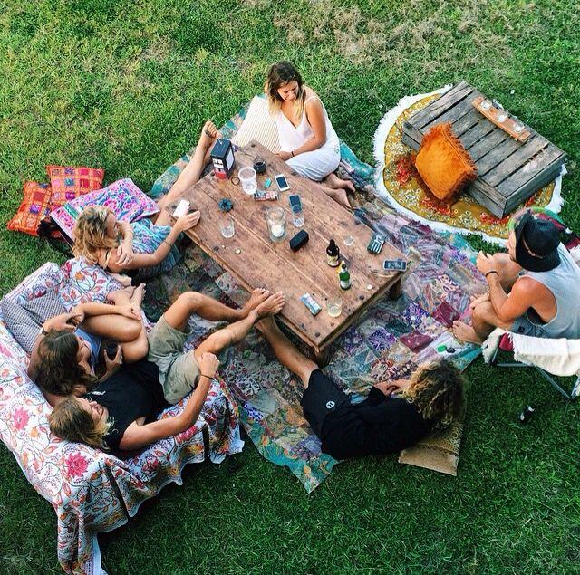 Friends Gathering Outdoor Boho Vibe Friends Gathering Picnic Fun