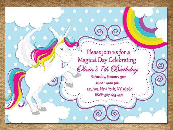 Rainbow unicorn invitation rainbow party invite - Image arc en ciel gratuite ...