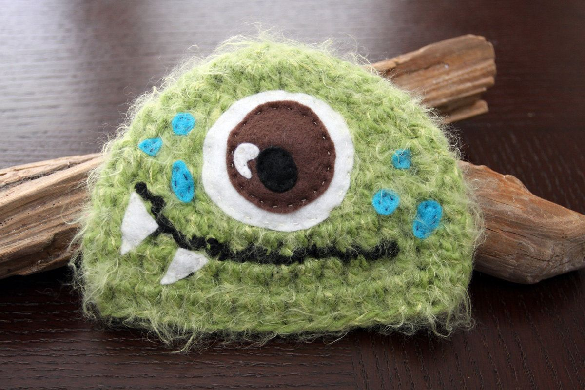 Green Monster Newborn Crocheted hat.