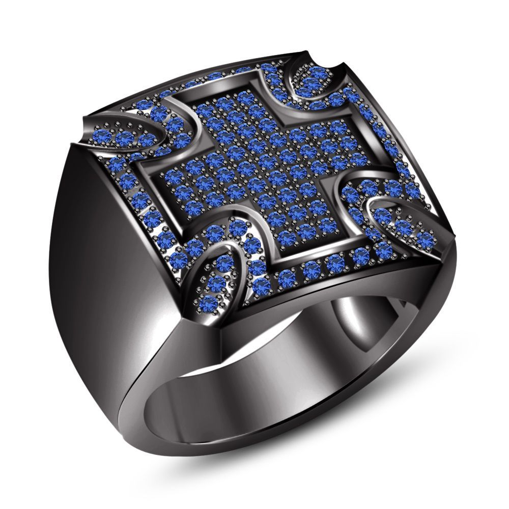 10K Black Gold Finish Round Cut Orange Sapphire Diamond Men/'s Engagement Pinky Ring Band 925 Sterling Silver