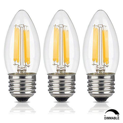 Crlight 6w Dimmable Led Filament Candle Light Bulb 3200k Soft White 600lm E26 Medium Base Chandelier Lamp C35 Torpe Light Bulb Candle Retro Lighting Home Decor