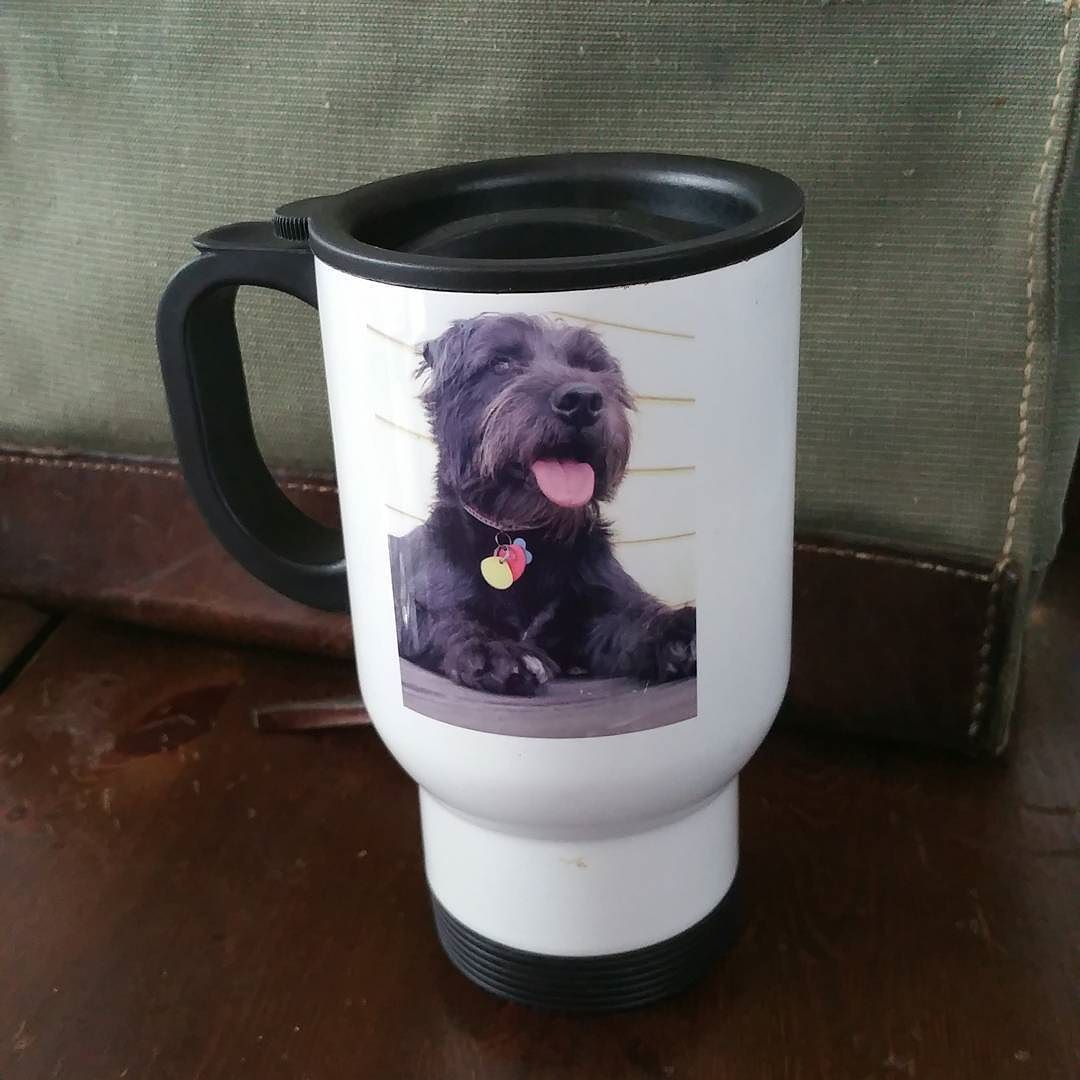 Cup of Java in my memorial cup for our 1st dog Oji. #cupofjoe #coffeemug #travelcup #coffeecup #ilovecoffee #ilovecoffeemugs #dogsofinstagram