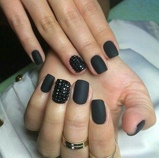 Matte Black Glitter Nail Polish: Matte Black Nails With Studs