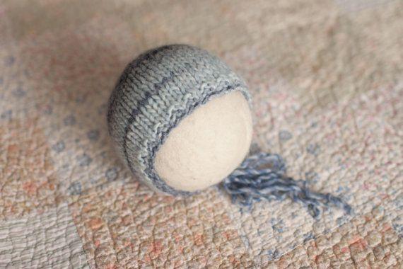 Knit Newborn Hat Blue Newborn Bonnet Blue Wool by bluestonesky