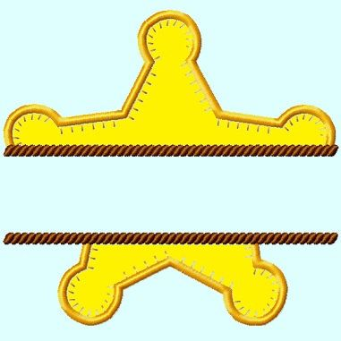 Split Sheriff Star Applique Embroidery Design By Lunaembroidery