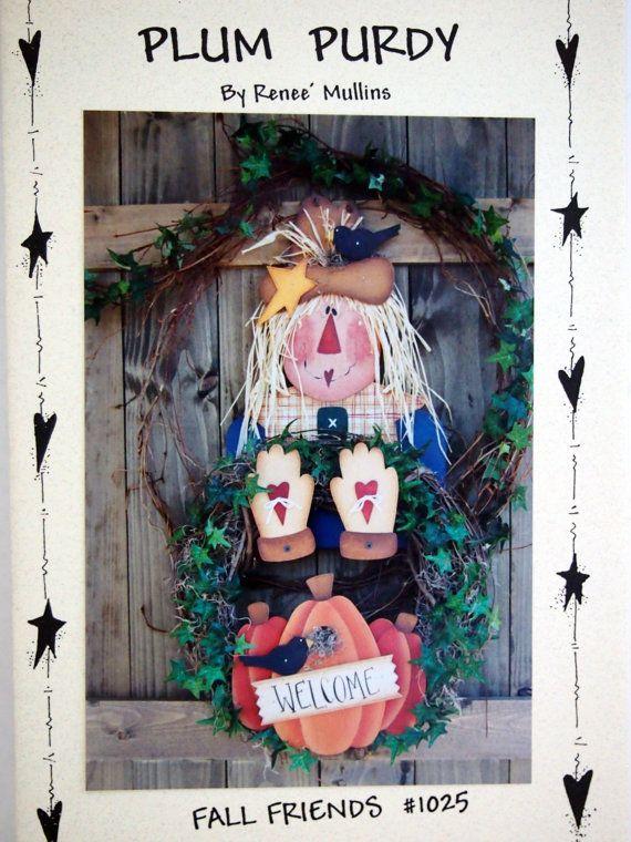 Plum Purdy Fall Friends Scarecrow Wreath Pattern by NeedANeedle, $7.75
