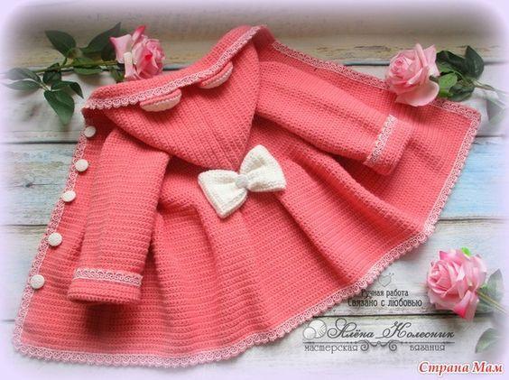 e83d21879 Abrigo Crochet para Nenas con orejitas   Tutorial