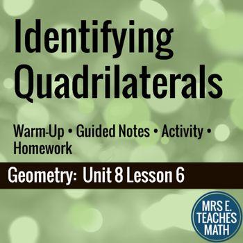 Identifying Quadrilaterals Lesson by Mrs E Teaches Math | Teachers Pay Teachers