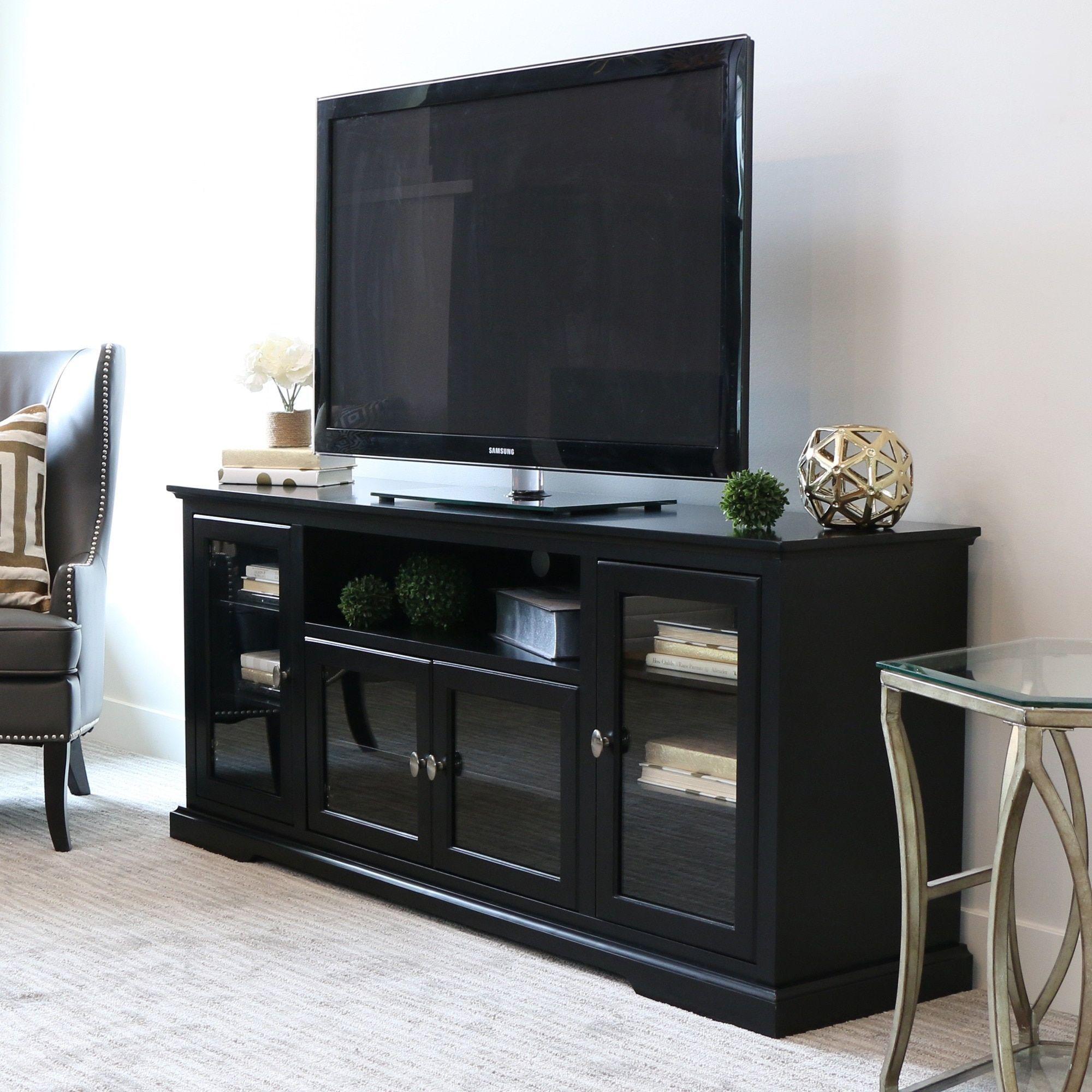 70 Inch Black Wood Highboy TV Stand