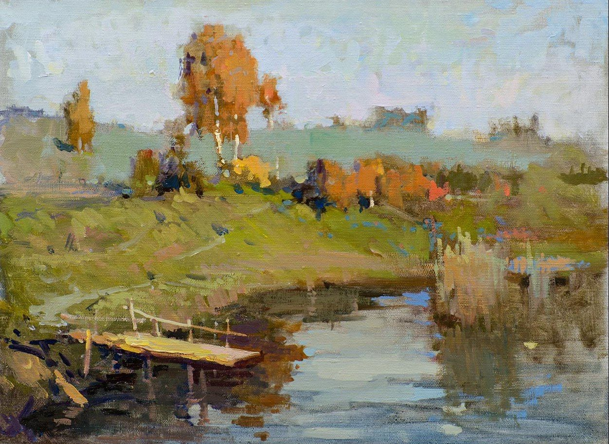 Vasiliy andreev russian countryside oil for Oil painting scenery