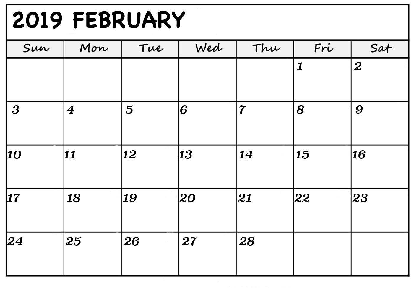 Blank Calendar February 2019 Printable Monthly Template Monthly