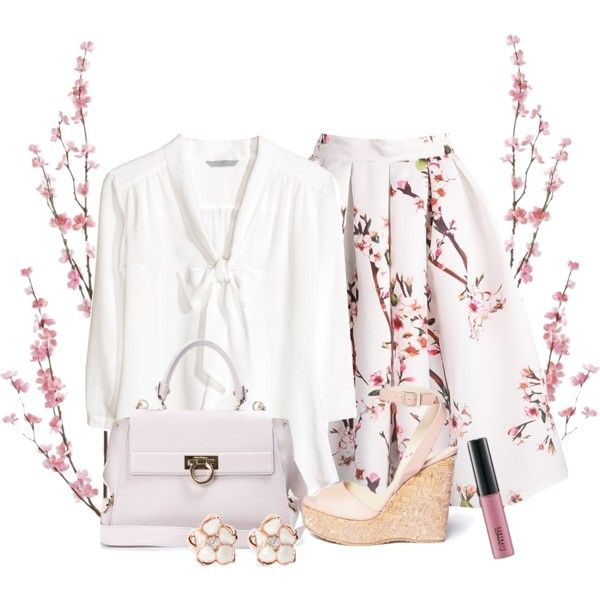 A fashion look from March 2015 featuring H&M blouses, Jimmy Choo sandals and Salvatore Ferragamo shoulder bags. Browse and shop related looks.