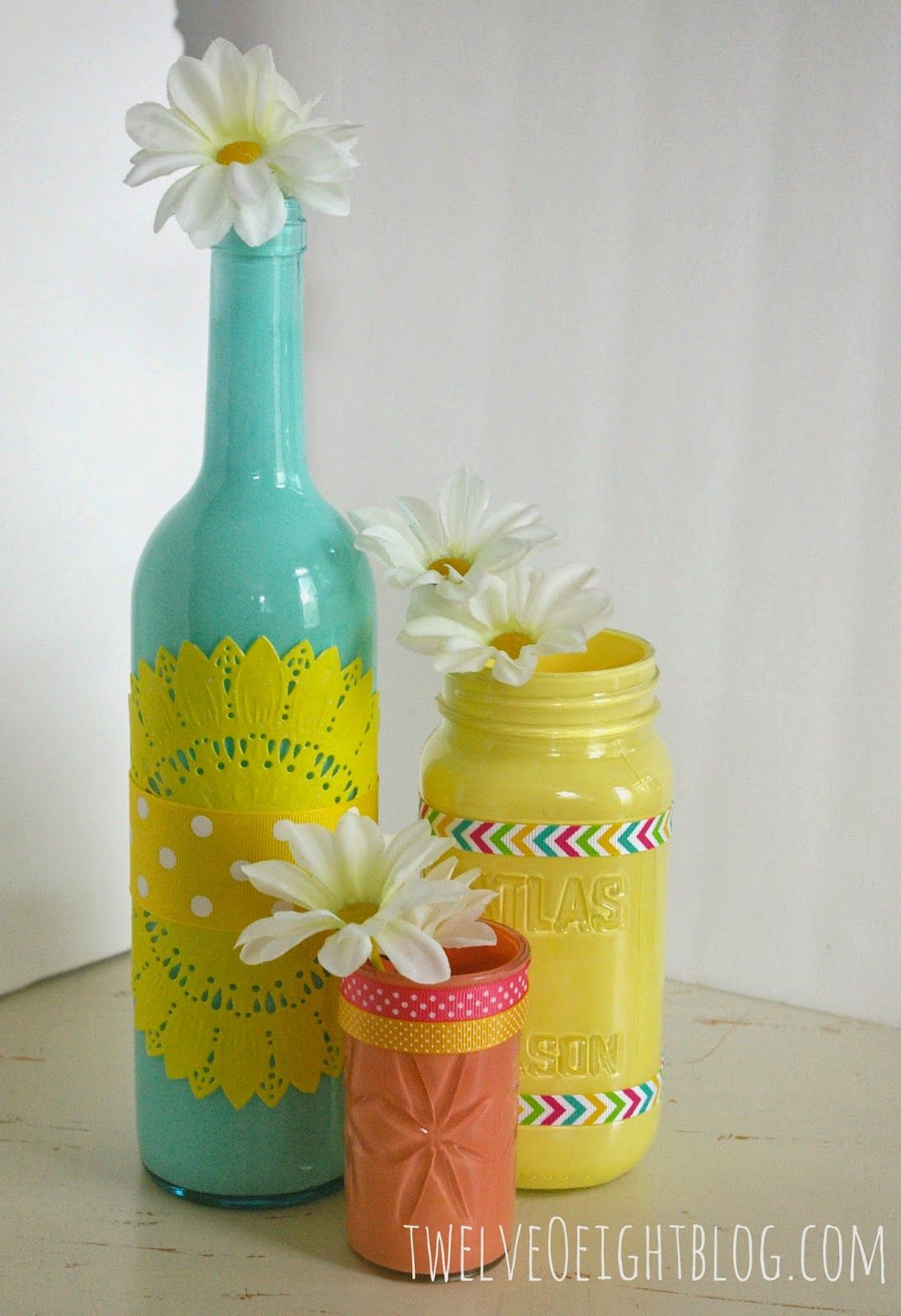Diy paper doily flowers painted glass bottles glass bottle and diy paper doily flowers floridaeventfo Gallery