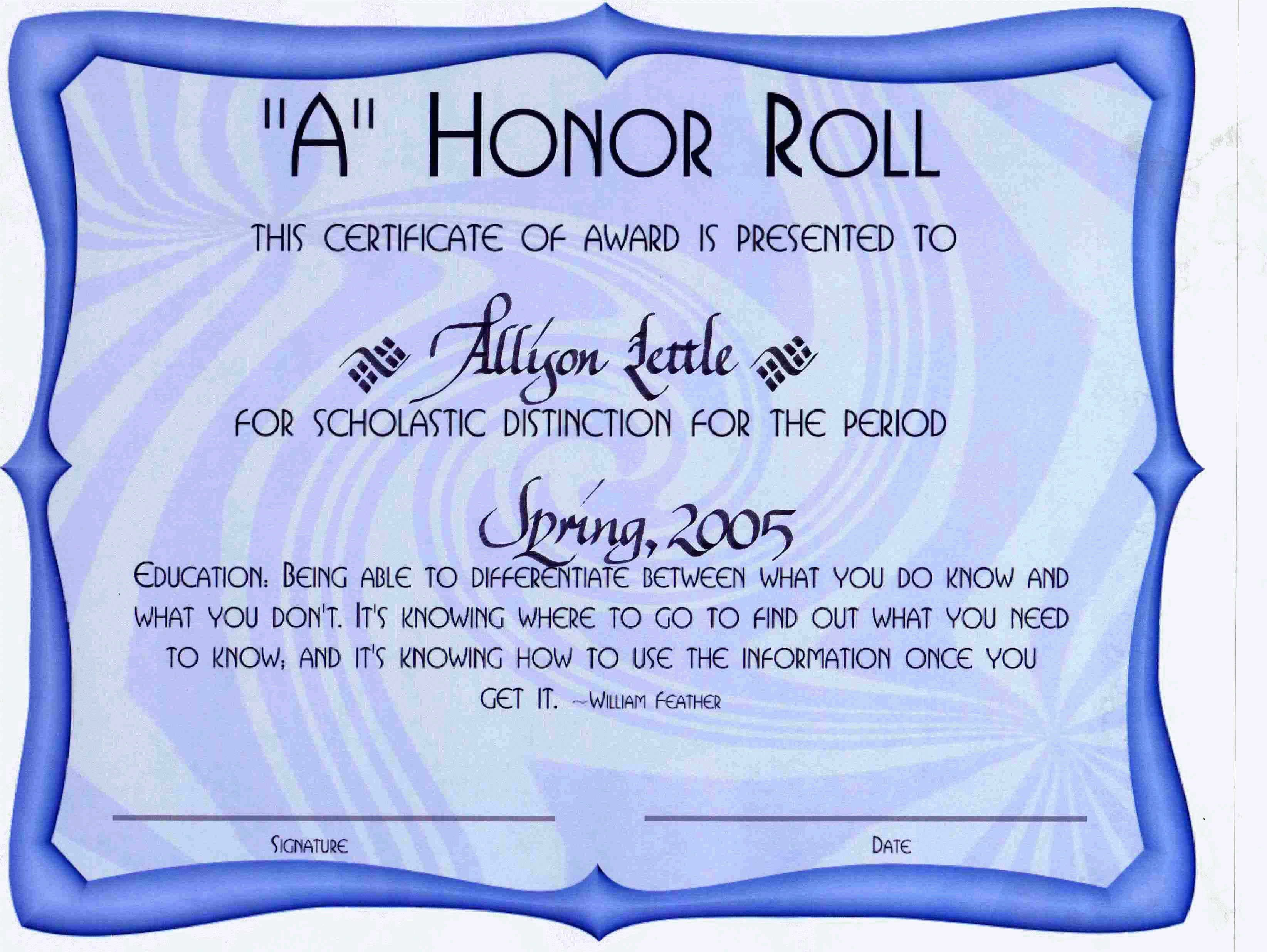 Free Printable Honor Roll Certificates Luxury Award