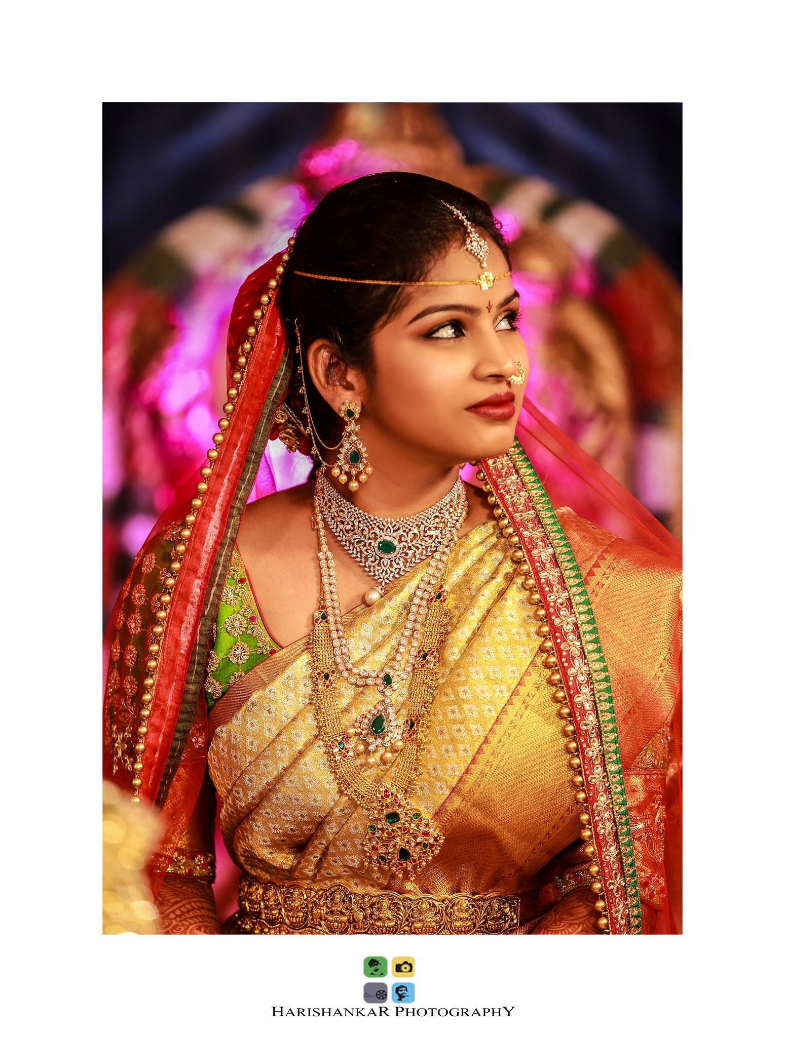 South Indian bride. Temple jewelry.Gold Silk kanchipuram sari with ...