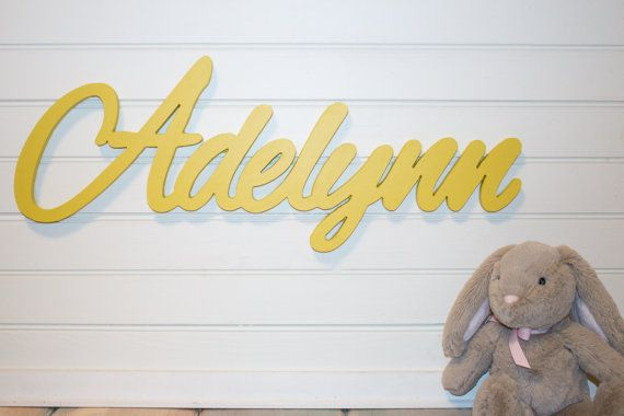 Yellow Wooden name sign Baby Name Plaque Personalized nursery name ...