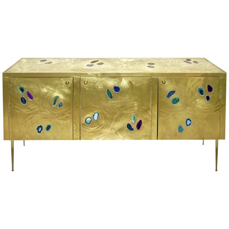 Italian Contemporary Fine Design Brass Cabinet With Blue Green Purple Agate 1 With Images Sideboard Designs Luxury Sideboard Purple Agate
