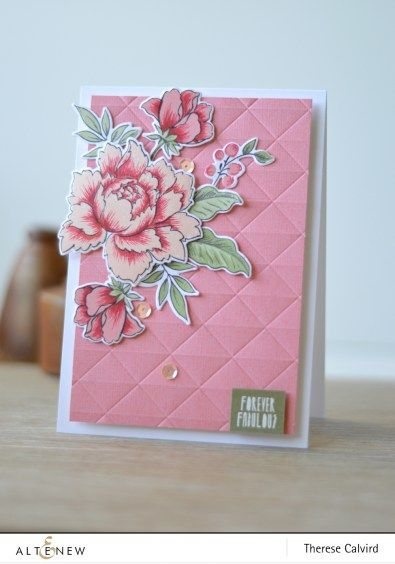 Therese is using Peony Bouquet Stamp Set and matching die set. Loving the layered flowers. www.altenew.com