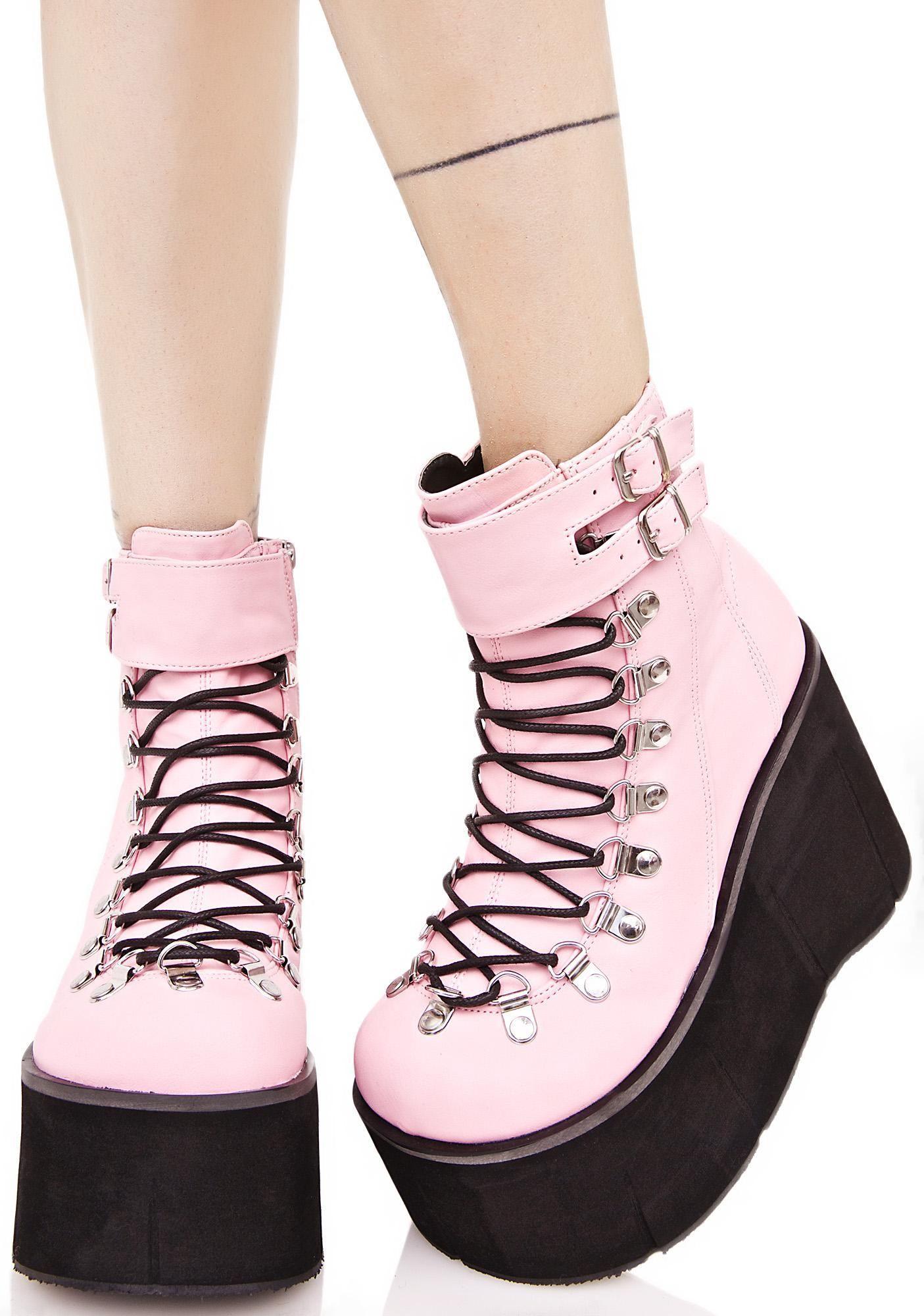 8ac007bad02 Kawaii Pastel Goth Platform Boots Demonia Sweetie Kera Lace-Up Platform  Boots