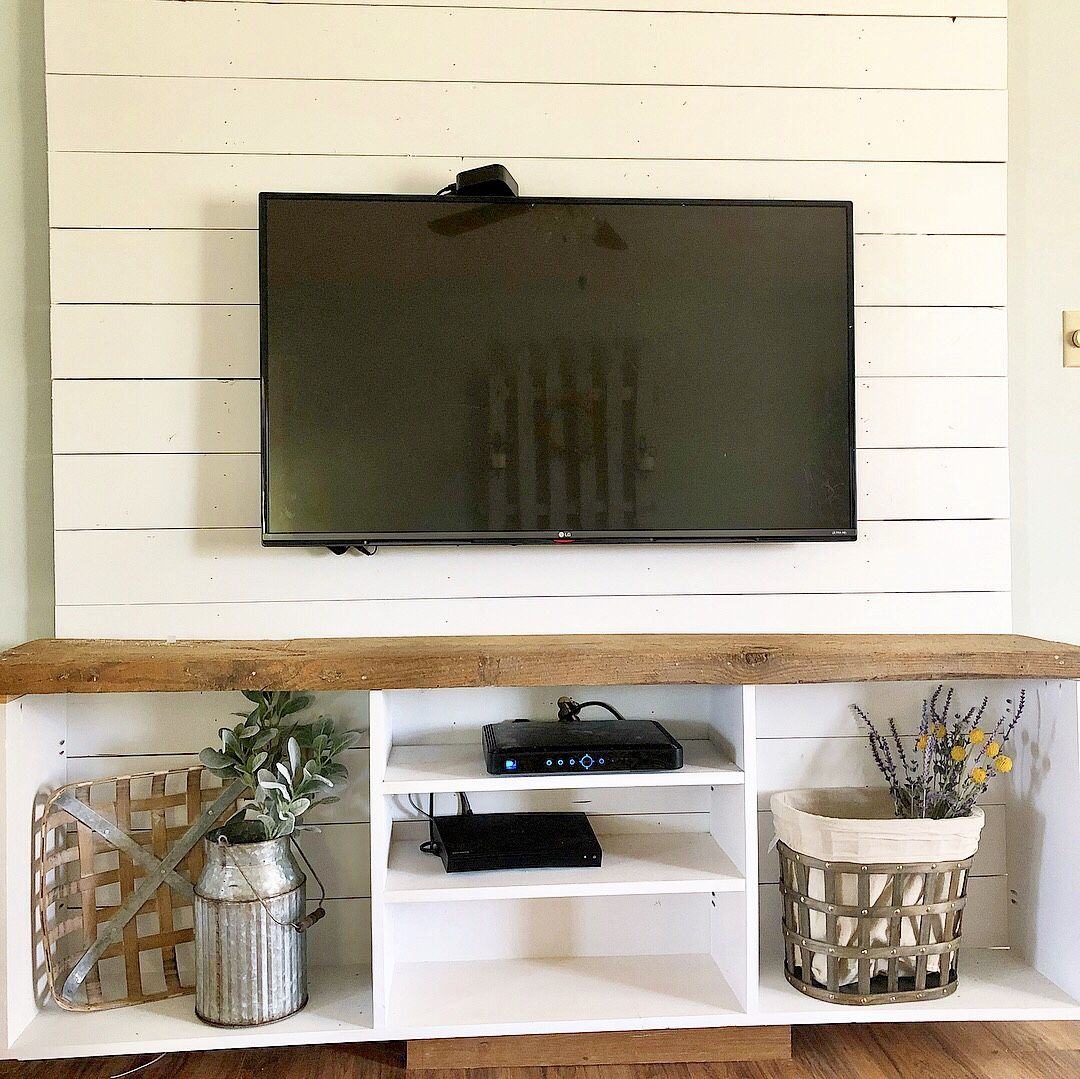 Farmhouse Tv Stand Shiplap Reclaimed Wood Shiplap Wall Diy Accent Walls In Living Room Ship Lap Walls