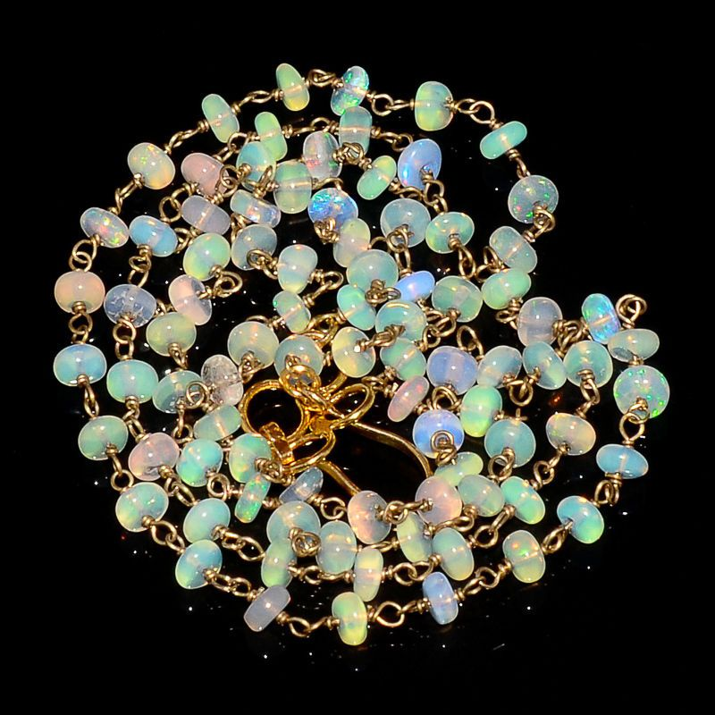"""29CRTS 3.8to4MM 24"""" ETHIOPIAN OPAL RONDELLE BEADS CHAIN NECKLACE OBI1573 #OPALBEADSINDIA"""