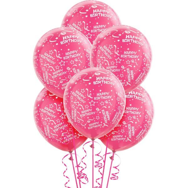 Pink Happy 18th Birthday Balloon: Latex Pink Confetti Birthday Printed Balloons 12in 6ct