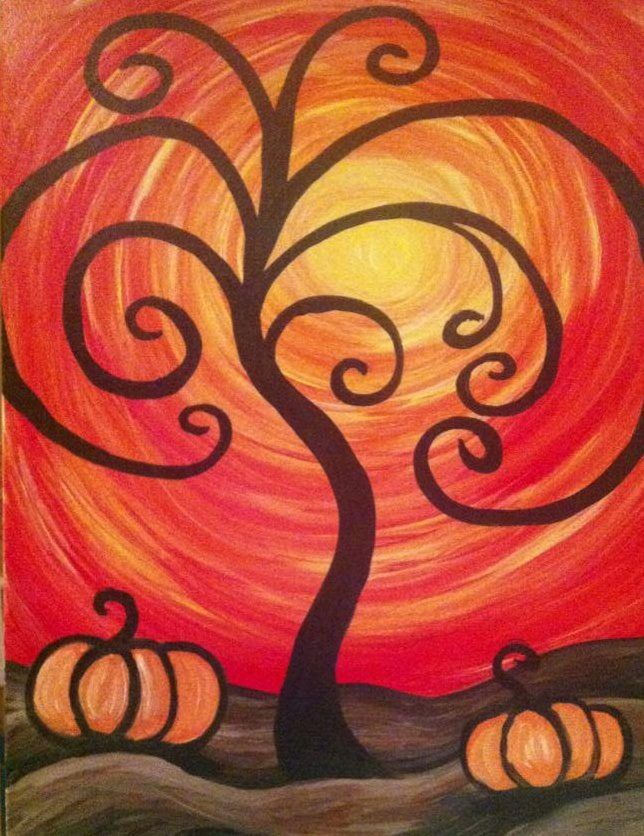 Easy Sip And Paint Pictures : paint, pictures, PAINT, Party,, Helena, MT..., Www.paintnpartyMT.com., Helena's, Paint, Studio, Davis,, Illustrator,, 2013…, Halloween, Painting,, Night, Painting