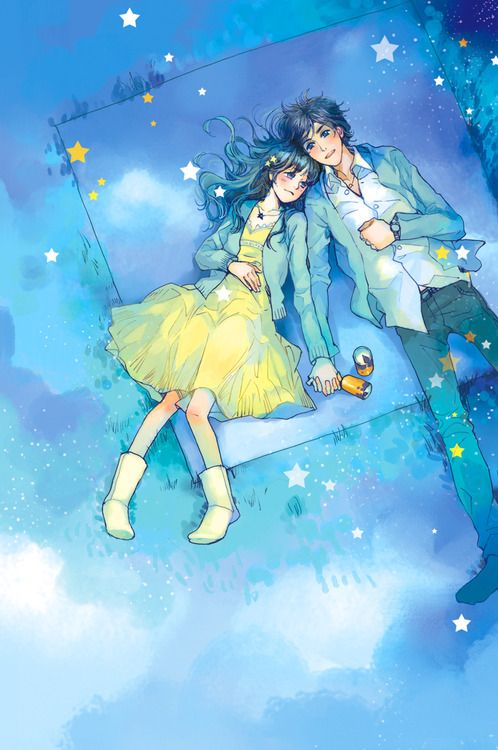 here we have a cute anime couple under the stars. they are quite the cuties