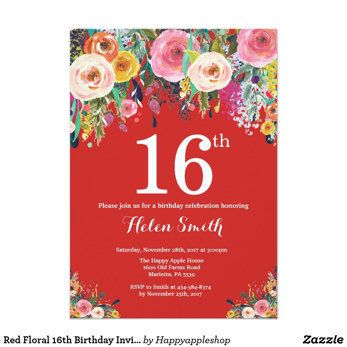 Red Floral 16th Birthday Invitation Zazzle Com 70th Birthday
