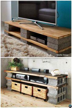DIY Cinder Block TV Stand Console 10 DIY Concrete Block Furniture Projects Tv  Möbel Holz