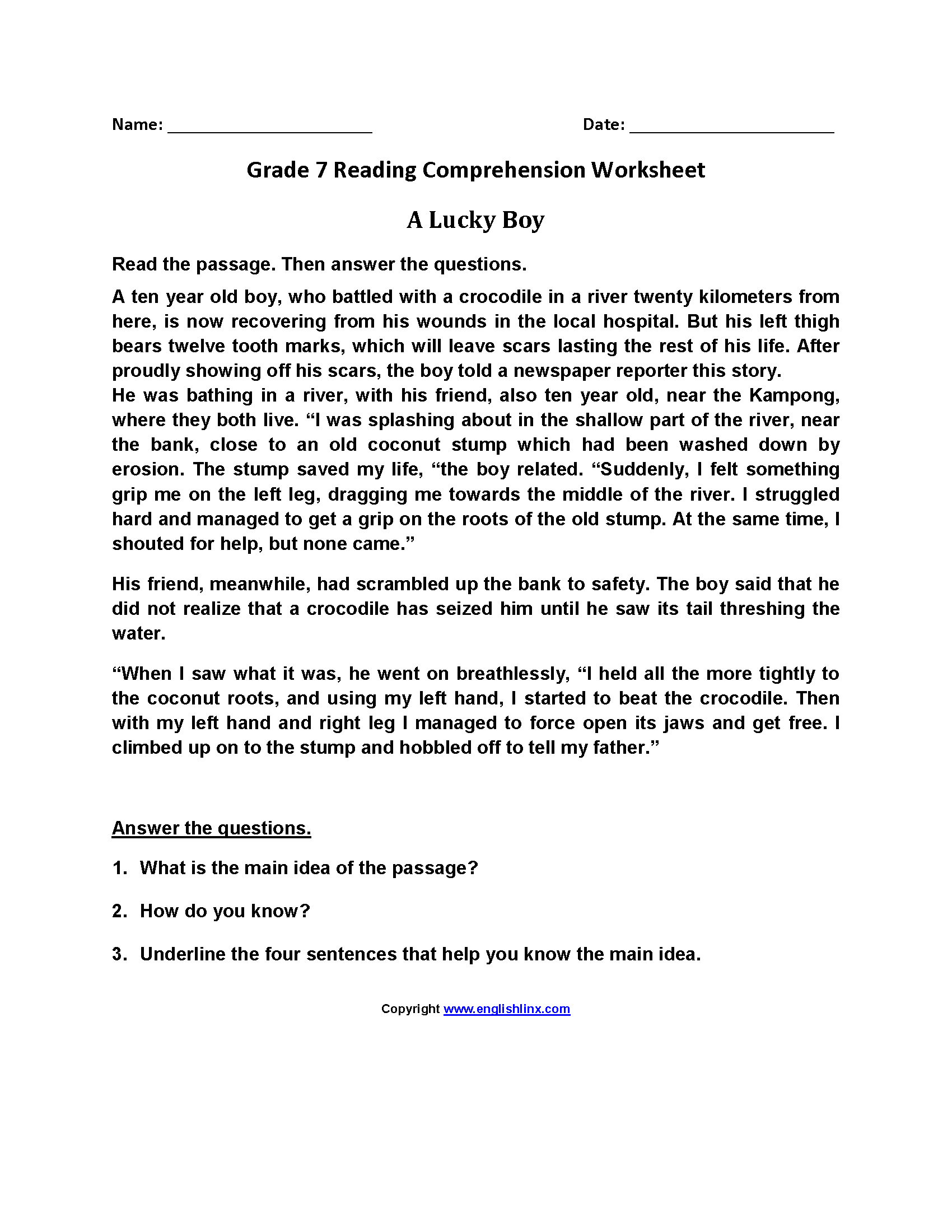 Printable Reading Comprehension Year 7