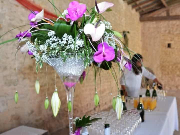 6 d corations de centres de table avec des vases martini - Decoration de vase pour mariage ...