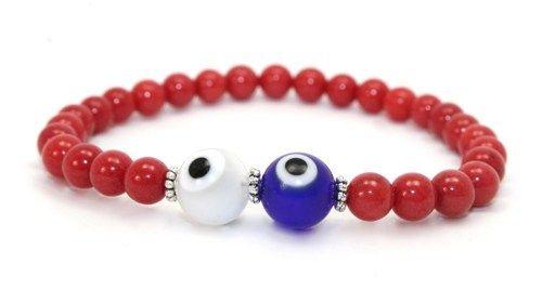 Beautiful Red Jade, White Lampwork and Blue Lampwork Glass Evil Eye Stretch Bangle Bracelet   AyaDesigns - Jewelry on ArtFire