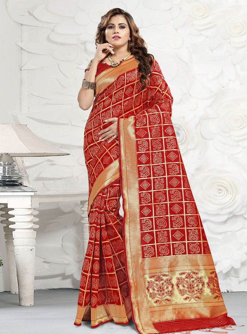 5fffc9a05eb77 Buy Red Banarasi Silk Saree With Blouse 149200 with blouse online at lowest  price from vast