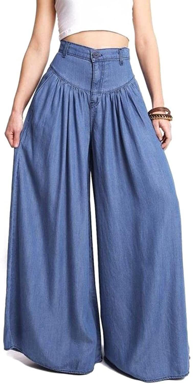 Mujer Ancho Pierna Pantalones Moda Cintura Alta Loose Fit Leggings Con Bolsillos Casual Pantalones Con Pliegues Pantalones De Vestir Mujer Pantalones De Moda